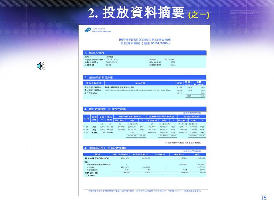 15 2. 投放資料摘要 ( 之一 )