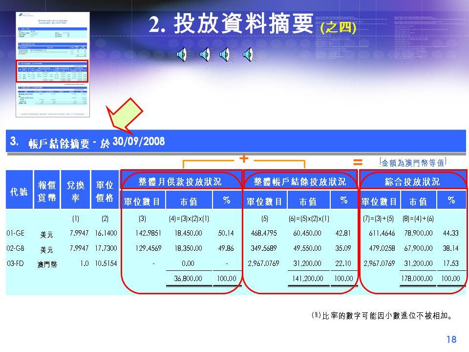 18 2. 投放資料摘要 ( 之四 ) = +