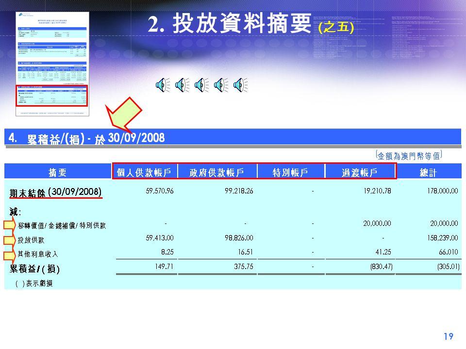 19 2. 投放資料摘要 ( 之五 )