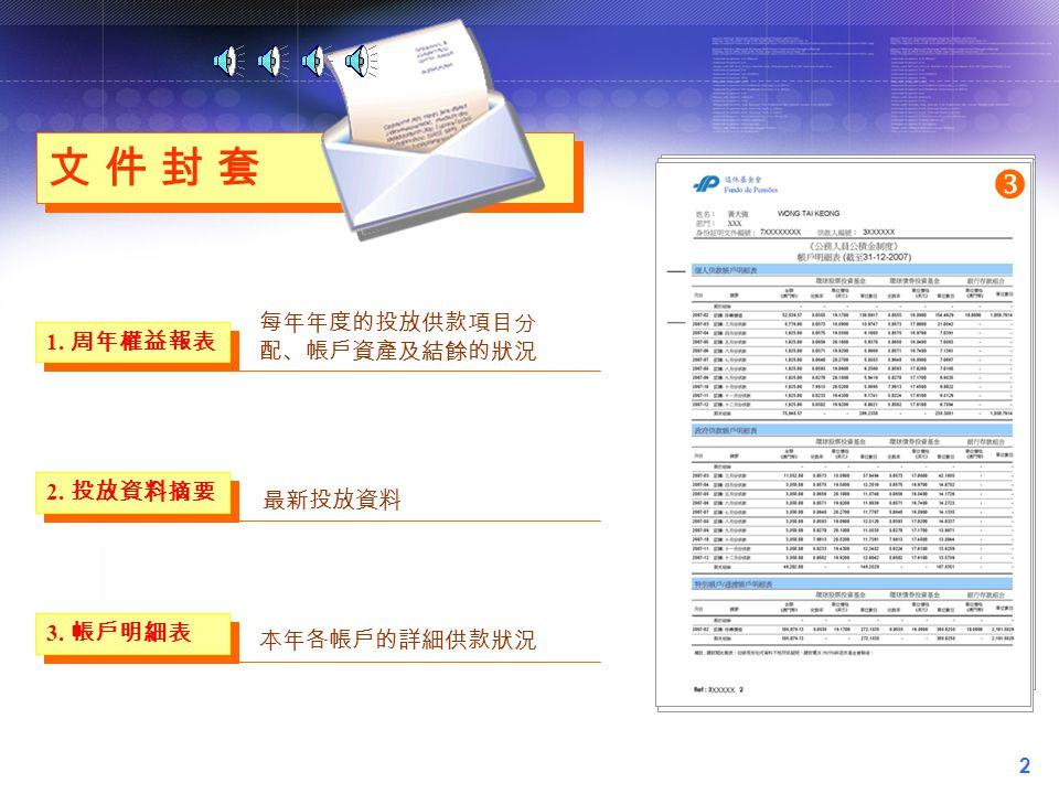 2 文 件 封 套文 件 封 套 文 件 封 套文 件 封 套 1.周年權益報表  第一頁  第二頁 每年年度的投放供款項目分 配、帳戶資產及結餘的狀況 3.