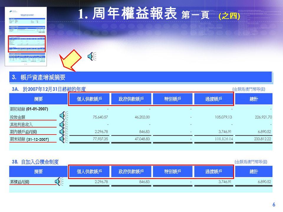 6 (31-12-2007) 108,826.04 1. 周年權益報表 第一頁 ( 之四 )