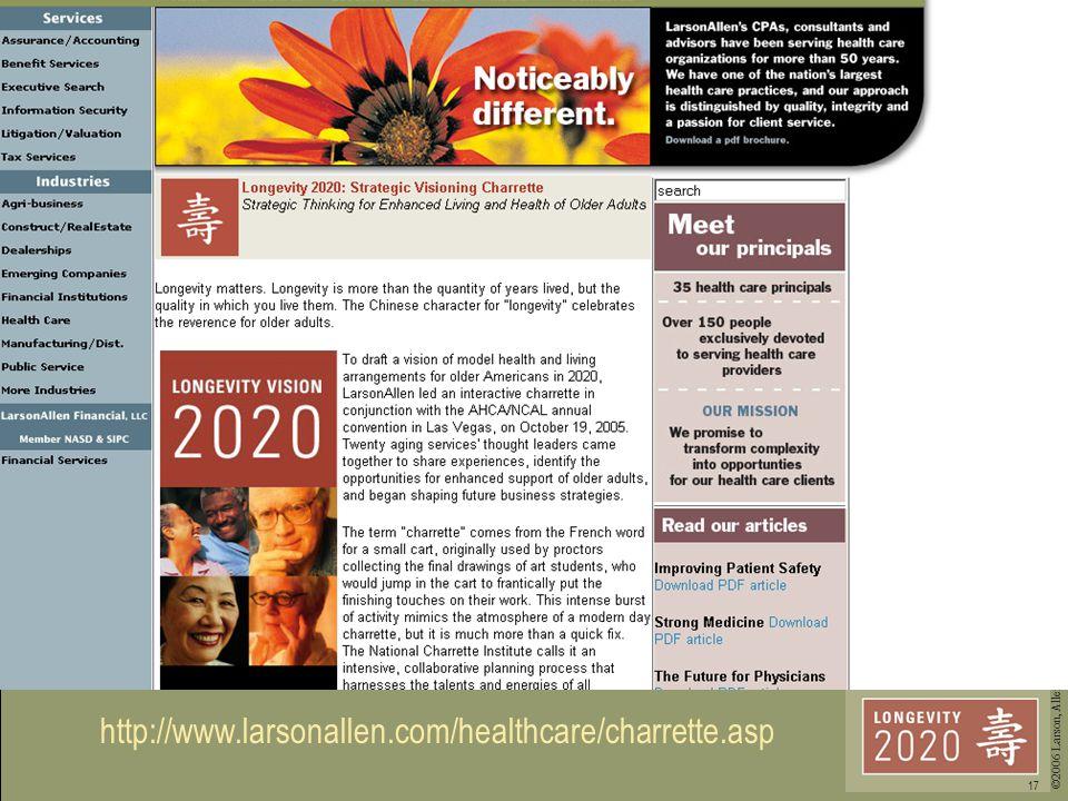 ©2006 Larson, Allen, Weishair & Co., LLP 17 http://www.larsonallen.com/healthcare/charrette.asp