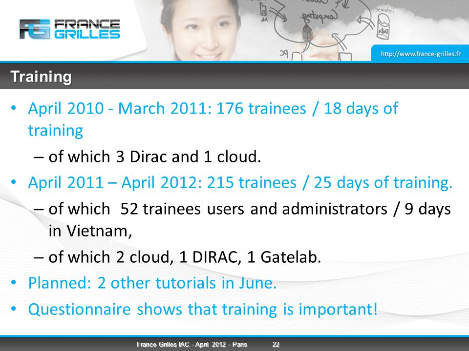 Training April 2010 - March 2011: 176 trainees / 18 days of training – of which 3 Dirac and 1 cloud.