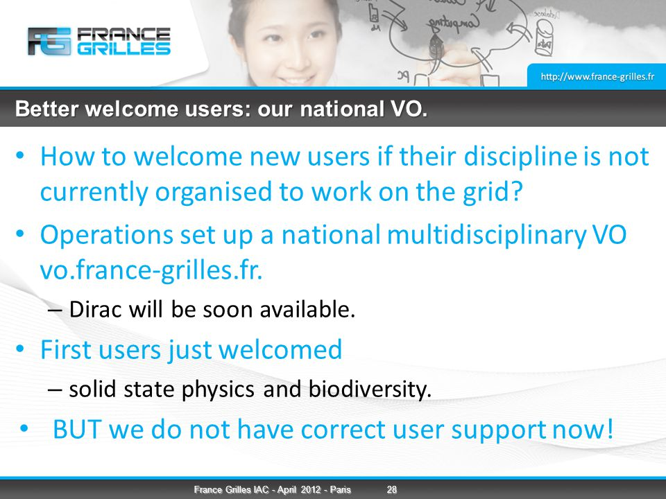 Better welcome users: our national VO.