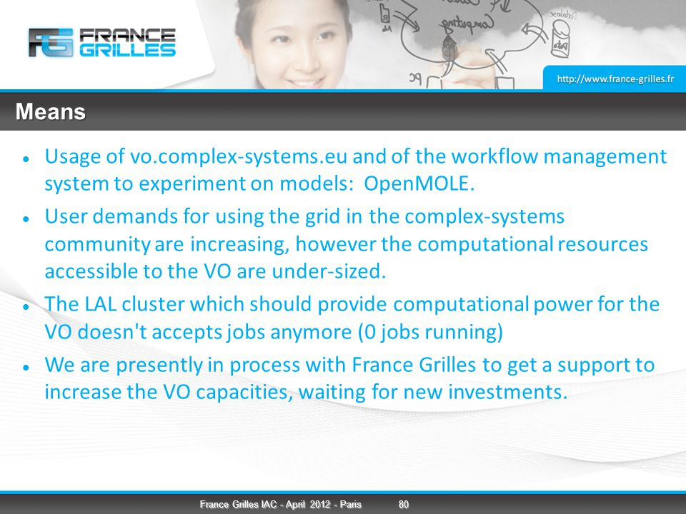 Means Usage of vo.complex-systems.eu and of the workflow management system to experiment on models: OpenMOLE.