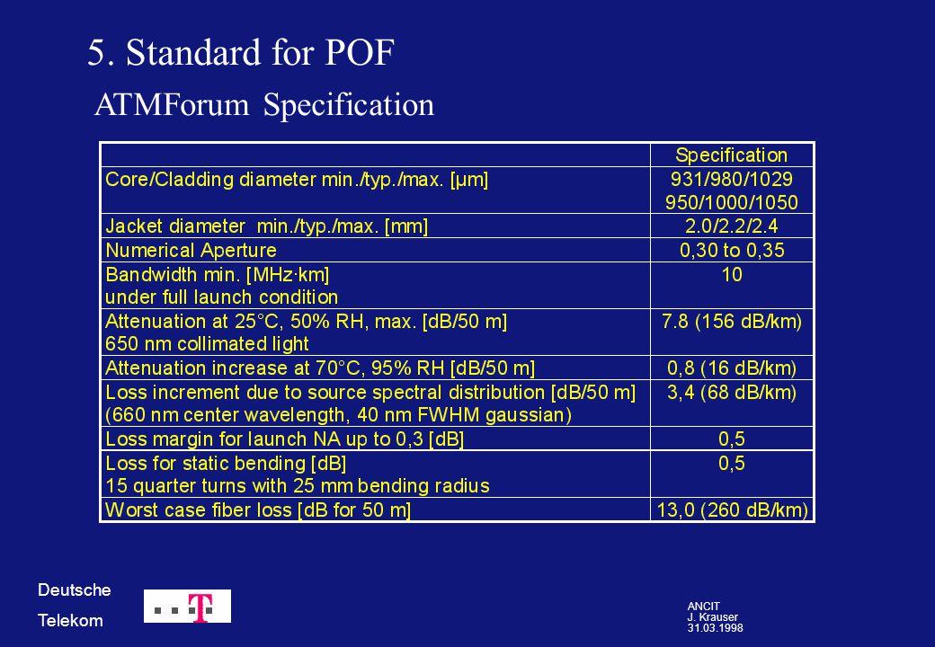 ANCIT J. Krauser 31.03.1998 Deutsche Telekom 5. Standard for POF ATMForum Specification