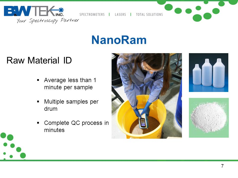 7 NanoRam Raw Material ID  Average less than 1 minute per sample  Multiple samples per drum  Complete QC process in minutes
