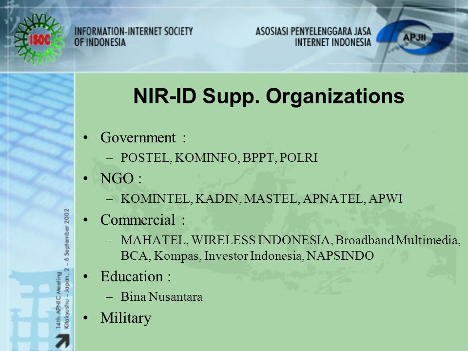 NIR-ID Support APNIC Support for Small IP Allocation from /20 up to /19 into /24 up to /22 Support for NIR Operational Draft, and NIR Establishment
