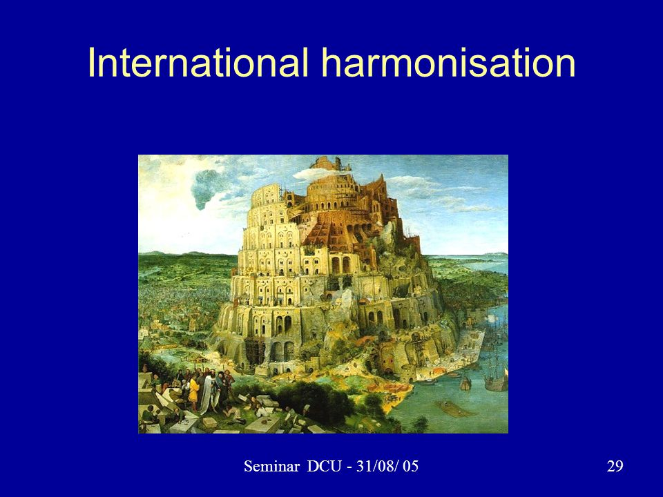 Seminar DCU - 31/08/ 0529 International harmonisation