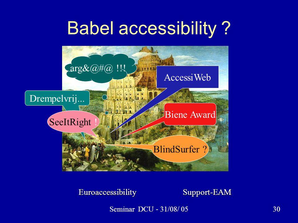 Seminar DCU - 31/08/ 0530 Babel accessibility . AccessiWeb arg&@#@ !!.