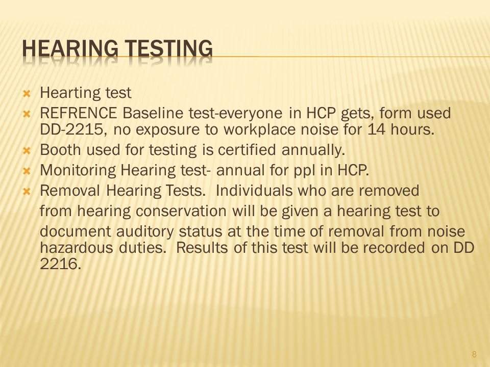  Disposition Following Monitoring Hearing Tests.