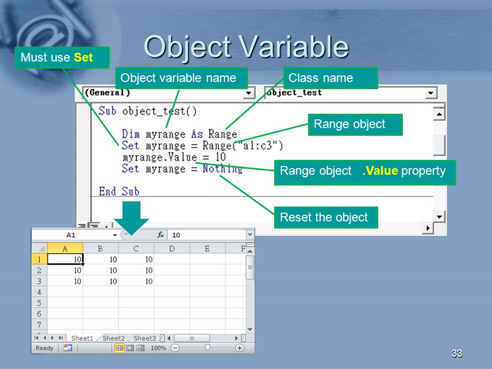 Object Variable 33 Class nameObject variable name Must use Set Range object Reset the object Range object.Value property