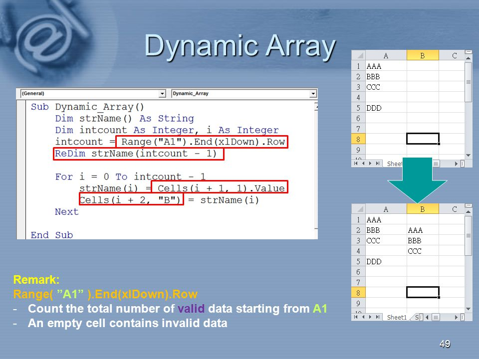 "Dynamic Array 49 Remark: Range( ""A1"" ).End(xlDown).Row -Count the total number of valid data starting from A1 -An empty cell contains invalid data"
