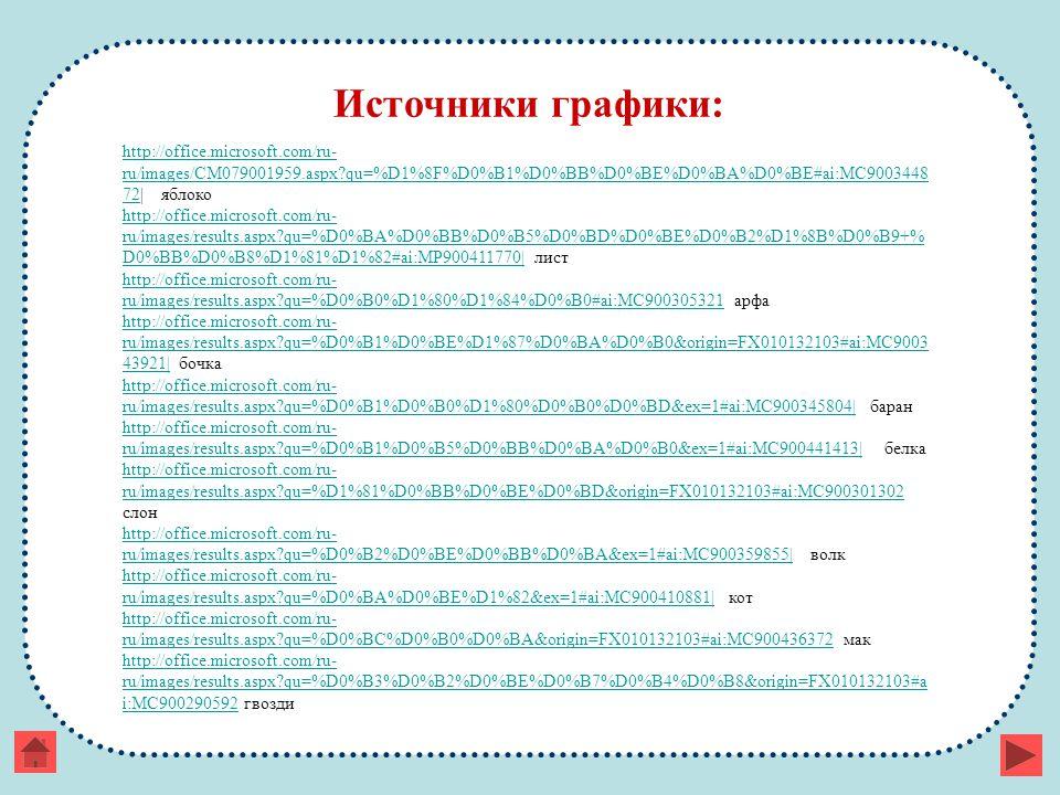 Источники графики: http://office.microsoft.com/ru- ru/images/CM079001959.aspx qu=%D1%8F%D0%B1%D0%BB%D0%BE%D0%BA%D0%BE#ai:MC9003448 72http://office.microsoft.com/ru- ru/images/CM079001959.aspx qu=%D1%8F%D0%B1%D0%BB%D0%BE%D0%BA%D0%BE#ai:MC9003448 72  яблоко http://office.microsoft.com/ru- ru/images/results.aspx qu=%D0%BA%D0%BB%D0%B5%D0%BD%D0%BE%D0%B2%D1%8B%D0%B9+% D0%BB%D0%B8%D1%81%D1%82#ai:MP900411770 http://office.microsoft.com/ru- ru/images/results.aspx qu=%D0%BA%D0%BB%D0%B5%D0%BD%D0%BE%D0%B2%D1%8B%D0%B9+% D0%BB%D0%B8%D1%81%D1%82#ai:MP900411770  лист http://office.microsoft.com/ru- ru/images/results.aspx qu=%D0%B0%D1%80%D1%84%D0%B0#ai:MC900305321http://office.microsoft.com/ru- ru/images/results.aspx qu=%D0%B0%D1%80%D1%84%D0%B0#ai:MC900305321 арфа http://office.microsoft.com/ru- ru/images/results.aspx qu=%D0%B1%D0%BE%D1%87%D0%BA%D0%B0&origin=FX010132103#ai:MC9003 43921 http://office.microsoft.com/ru- ru/images/results.aspx qu=%D0%B1%D0%BE%D1%87%D0%BA%D0%B0&origin=FX010132103#ai:MC9003 43921  бочка http://office.microsoft.com/ru- ru/images/results.aspx qu=%D0%B1%D0%B0%D1%80%D0%B0%D0%BD&ex=1#ai:MC900345804 http://office.microsoft.com/ru- ru/images/results.aspx qu=%D0%B1%D0%B0%D1%80%D0%B0%D0%BD&ex=1#ai:MC900345804  баран http://office.microsoft.com/ru- ru/images/results.aspx qu=%D0%B1%D0%B5%D0%BB%D0%BA%D0%B0&ex=1#ai:MC900441413 http://office.microsoft.com/ru- ru/images/results.aspx qu=%D0%B1%D0%B5%D0%BB%D0%BA%D0%B0&ex=1#ai:MC900441413  белка http://office.microsoft.com/ru- ru/images/results.aspx qu=%D1%81%D0%BB%D0%BE%D0%BD&origin=FX010132103#ai:MC900301302 http://office.microsoft.com/ru- ru/images/results.aspx qu=%D1%81%D0%BB%D0%BE%D0%BD&origin=FX010132103#ai:MC900301302 слон http://office.microsoft.com/ru- ru/images/results.aspx qu=%D0%B2%D0%BE%D0%BB%D0%BA&ex=1#ai:MC900359855 http://office.microsoft.com/ru- ru/images/results.aspx qu=%D0%B2%D0%BE%D0%BB%D0%BA&ex=1#ai:MC900359855  волк http://office.microsoft.com/ru- ru/images/results.aspx qu=%D0%BA%D0%BE%D1%82&ex=1#ai:M