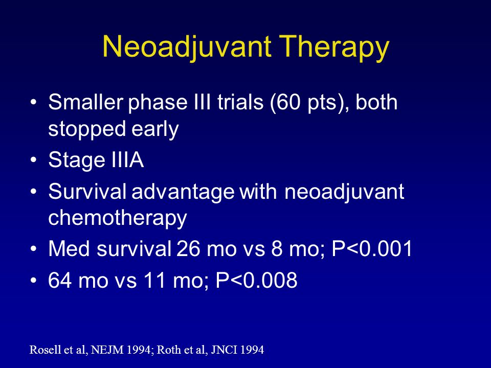 Smaller phase III trials (60 pts), both stopped early Stage IIIA Survival advantage with neoadjuvant chemotherapy Med survival 26 mo vs 8 mo; P<0.001