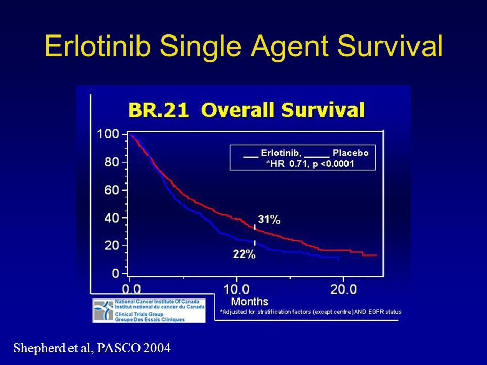 Erlotinib Single Agent Survival Shepherd et al, PASCO 2004