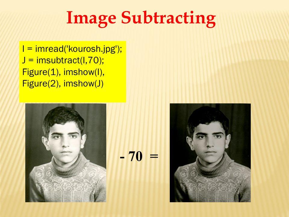 - 70 = I = imread( kourosh.jpg ); J = imsubtract(I,70); Figure(1), imshow(I), Figure(2), imshow(J) Image Subtracting