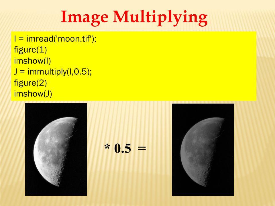 I = imread( moon.tif ); figure(1) imshow(I) J = immultiply(I,0.5); figure(2) imshow(J) * 0.5 =