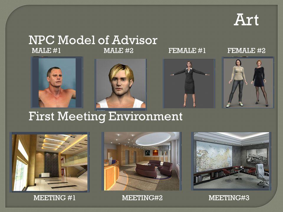 MALE #1 MALE #2FEMALE #1 FEMALE #2 Art NPC Model of Advisor First Meeting Environment MEETING #1 MEETING#2 MEETING#3