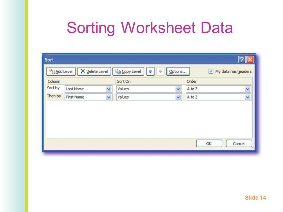 Sorting Worksheet Data Slide 14