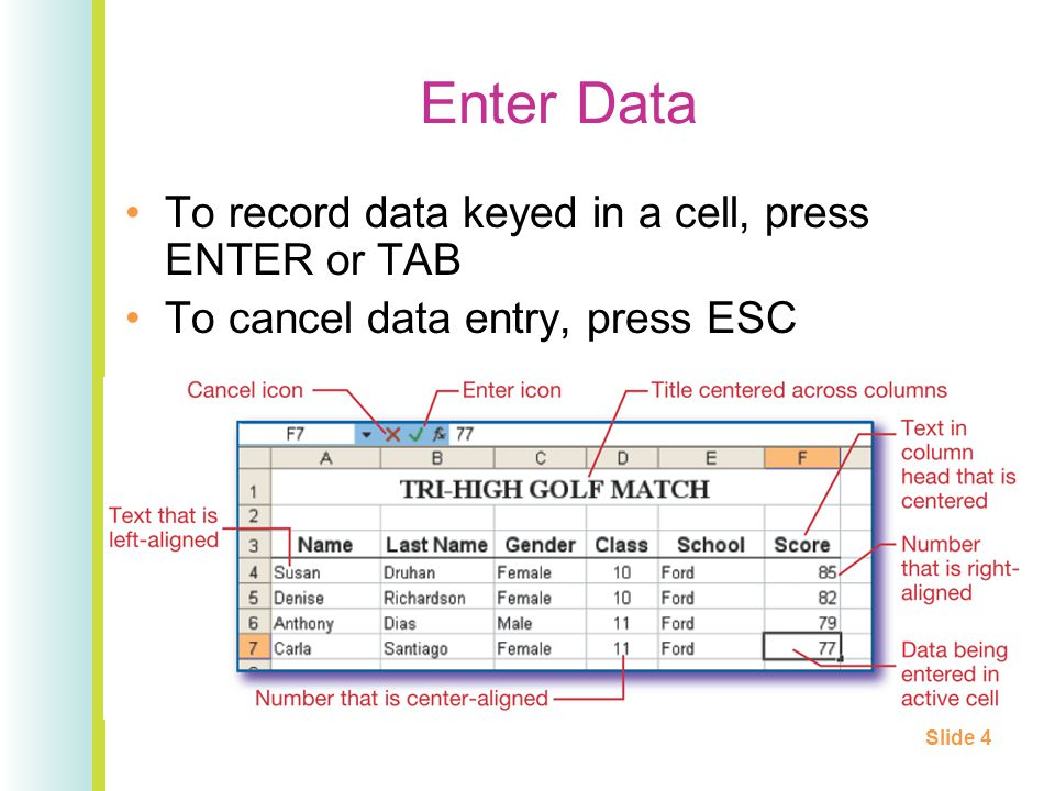 Enter Data To record data keyed in a cell, press ENTER or TAB To cancel data entry, press ESC Slide 4
