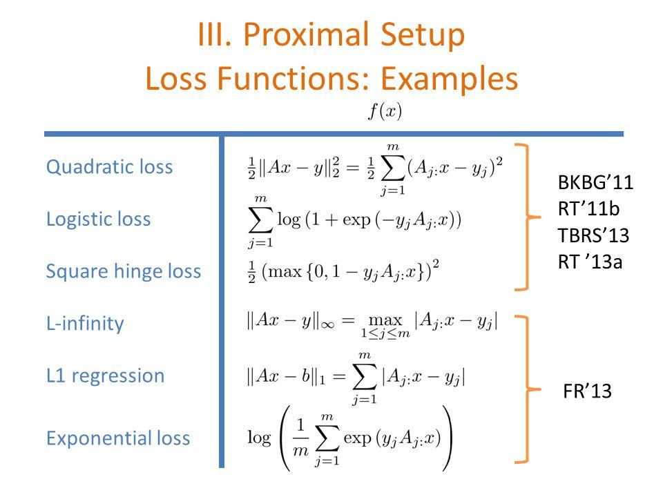 III. Proximal Setup Loss Functions: Examples Quadratic loss L-infinity L1 regression Exponential loss Logistic loss Square hinge loss BKBG'11 RT'11b T