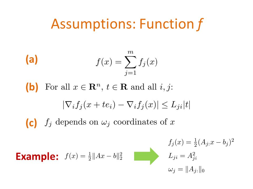 Assumptions: Function f Example: (a) (b) (c)
