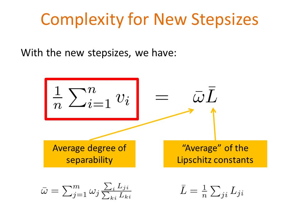 Complexity for New Stepsizes Average degree of separability Average of the Lipschitz constants With the new stepsizes, we have: