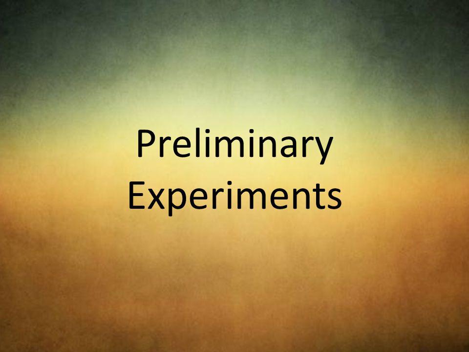 Preliminary Experiments