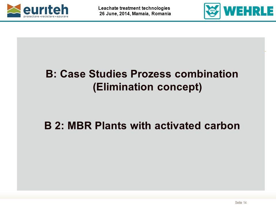Seite 14 Leachate treatment technologies 26 June, 2014, Mamaia, Romania Agenda B: Case Studies Prozess combination (Elimination concept) B 2: MBR Plan