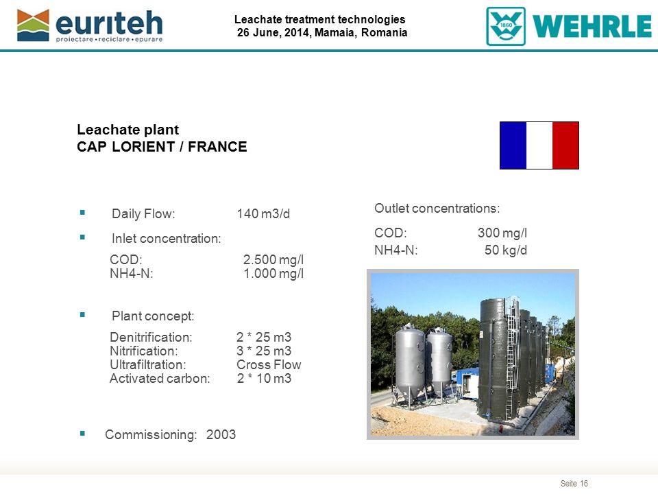 Seite 16 Leachate treatment technologies 26 June, 2014, Mamaia, Romania Leachate plant CAP LORIENT / FRANCE  Daily Flow:140 m3/d  Inlet concentratio