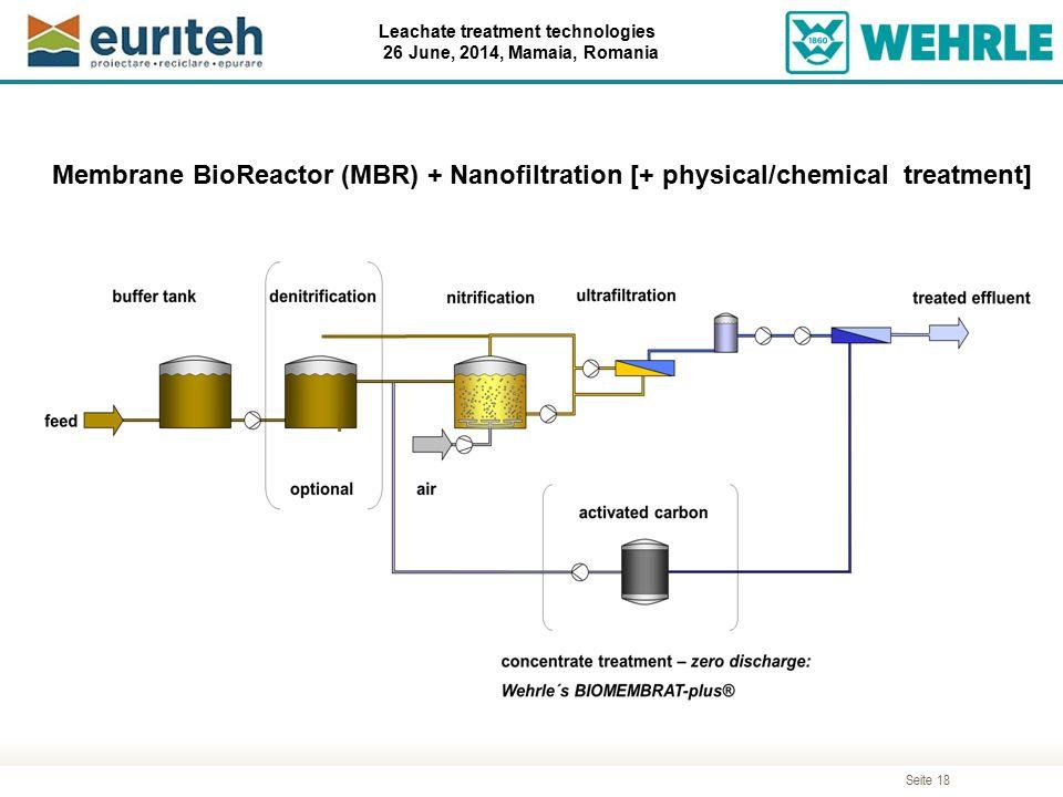 Seite 18 Leachate treatment technologies 26 June, 2014, Mamaia, Romania Membrane BioReactor (MBR) + Nanofiltration [+ physical/chemical treatment]