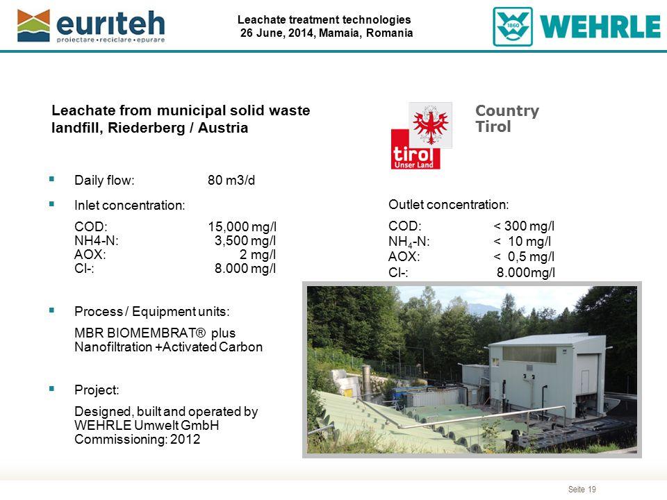 Seite 19 Leachate treatment technologies 26 June, 2014, Mamaia, Romania Leachate from municipal solid waste landfill, Riederberg / Austria  Daily flo