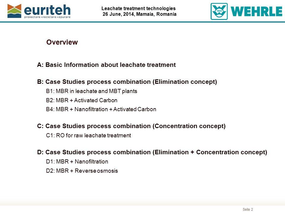 Seite 2 Leachate treatment technologies 26 June, 2014, Mamaia, Romania A: Basic Information about leachate treatment B: Case Studies process combinati