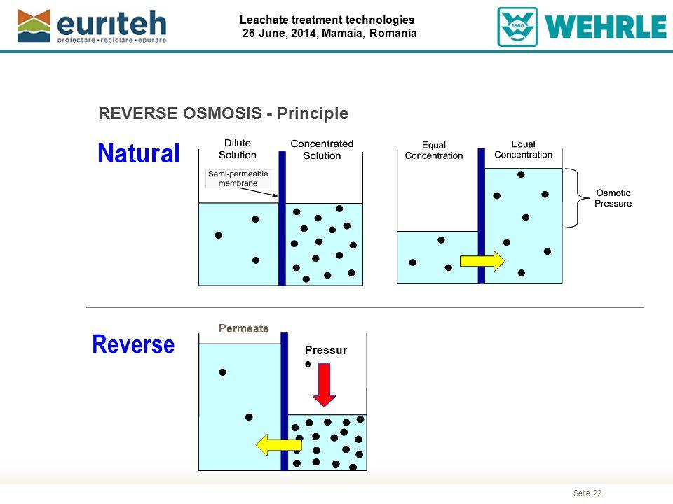 Seite 22 Leachate treatment technologies 26 June, 2014, Mamaia, Romania REVERSE OSMOSIS - Principle Permeate Pressur e Reverse