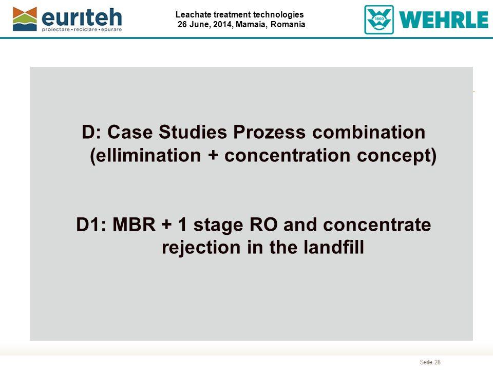 Seite 28 Leachate treatment technologies 26 June, 2014, Mamaia, Romania Agenda D: Case Studies Prozess combination (ellimination + concentration conce