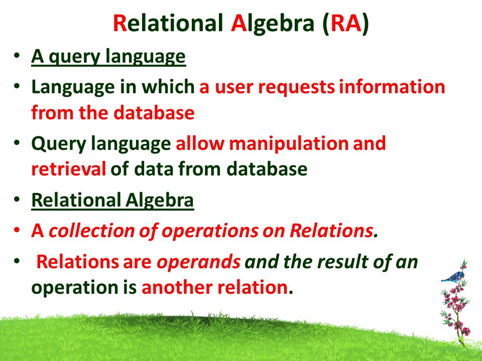 A query language Language in which a user requests information from the database Query language allow manipulation and retrieval of data from database Relational Algebra A collection of operations on Relations.