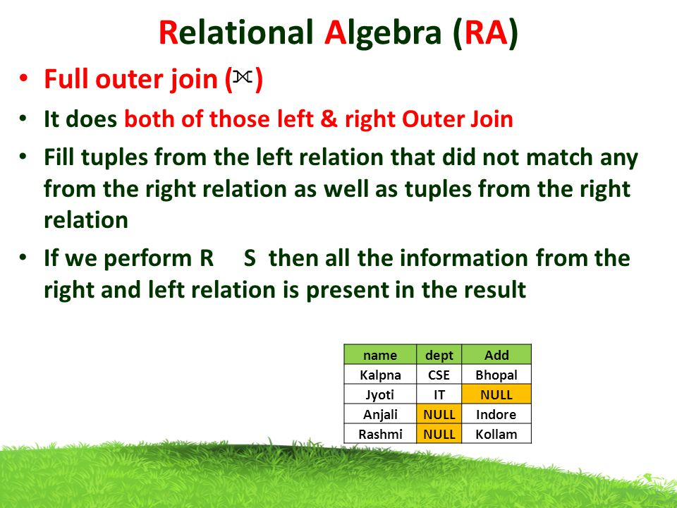 Relational Algebra (RA) Full outer join ( ) It does both of those left & right Outer Join Fill tuples from the left relation that did not match any from the right relation as well as tuples from the right relation If we perform R S then all the information from the right and left relation is present in the result namedeptAdd KalpnaCSEBhopal JyotiITNULL AnjaliNULLIndore RashmiNULLKollam