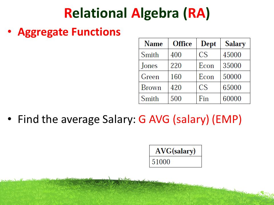 Relational Algebra (RA) Aggregate Functions Find the average Salary: G AVG (salary) (EMP)