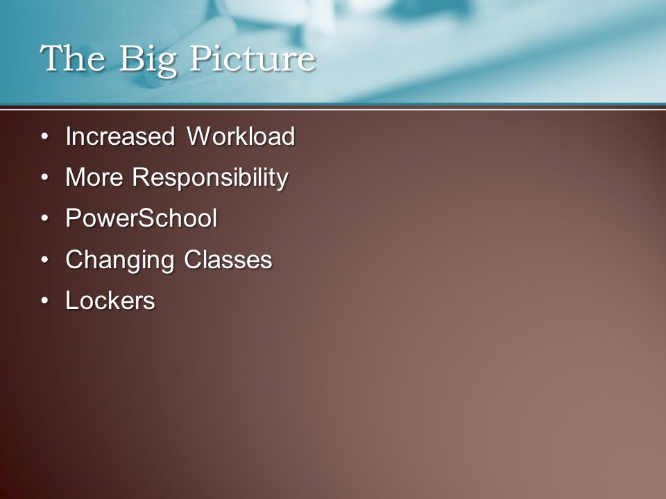 The Big Picture Increased WorkloadIncreased Workload More ResponsibilityMore Responsibility PowerSchoolPowerSchool Changing ClassesChanging Classes LockersLockers