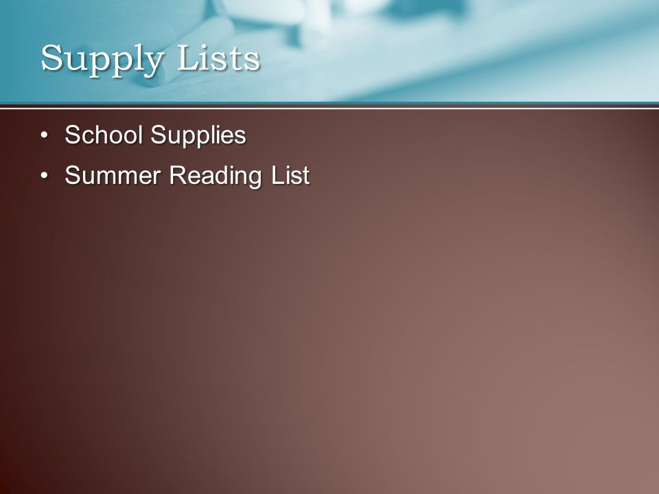 School SuppliesSchool Supplies Summer Reading ListSummer Reading List Supply Lists
