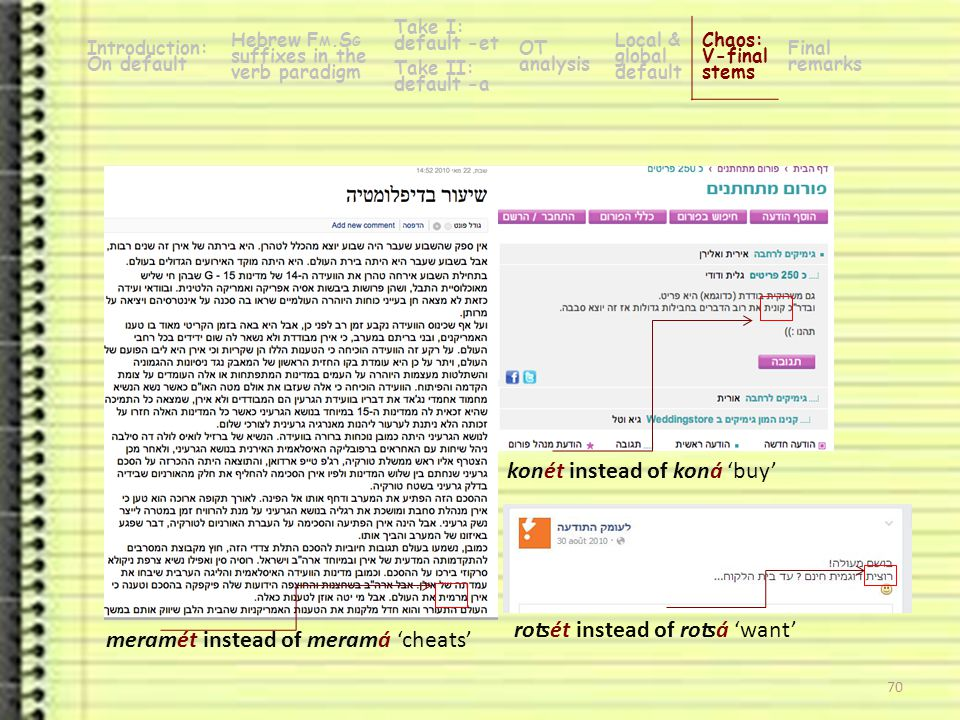 69 mitkašét instead of mitkašá 'find it difficult / becomes hard' -a verbs (n=5): 100% accuracy Introduction: On default Hebrew F M.S G suffixes in the verb paradigm Take I: default -et OT analysis Local & global default Chaos: V-final stems Final remarks Take II: default -a Not in reality