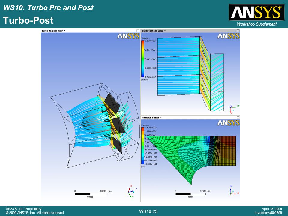 WS10: Turbo Pre and Post WS10-23 ANSYS, Inc. Proprietary © 2009 ANSYS, Inc. All rights reserved. April 28, 2009 Inventory #002599 Workshop Supplement