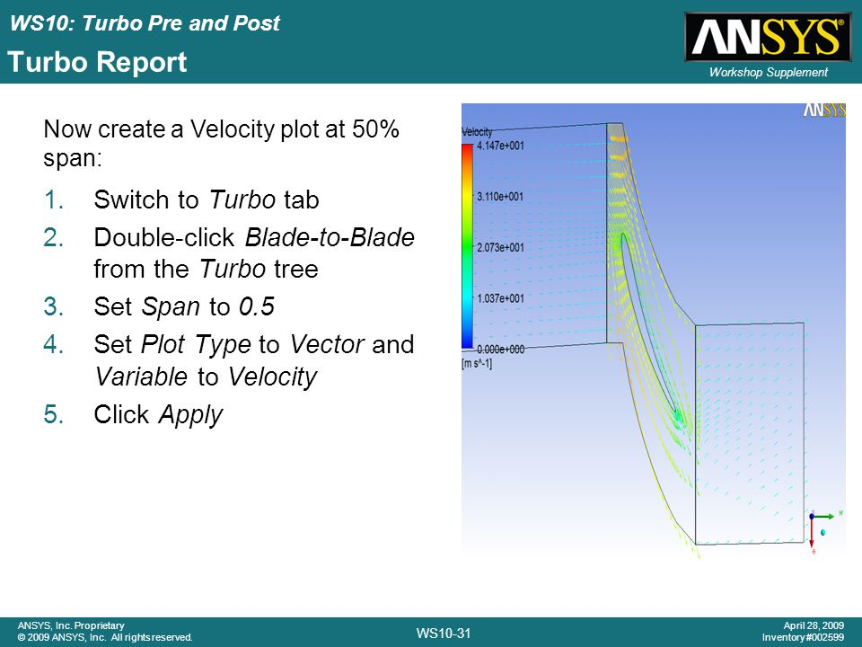 WS10: Turbo Pre and Post WS10-31 ANSYS, Inc. Proprietary © 2009 ANSYS, Inc. All rights reserved. April 28, 2009 Inventory #002599 Workshop Supplement