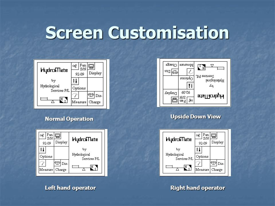 Screen Customisation Normal Operation Upside Down View Left hand operator Right hand operator