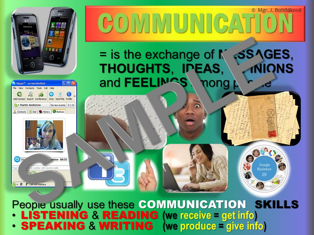 COMMUNICATION = is the exchange of MESSAGES, THOUGHTS, IDEAS, OPINIONS and FEELINGS among people People usually use these COMMUNICATION SKILLS LISTENI