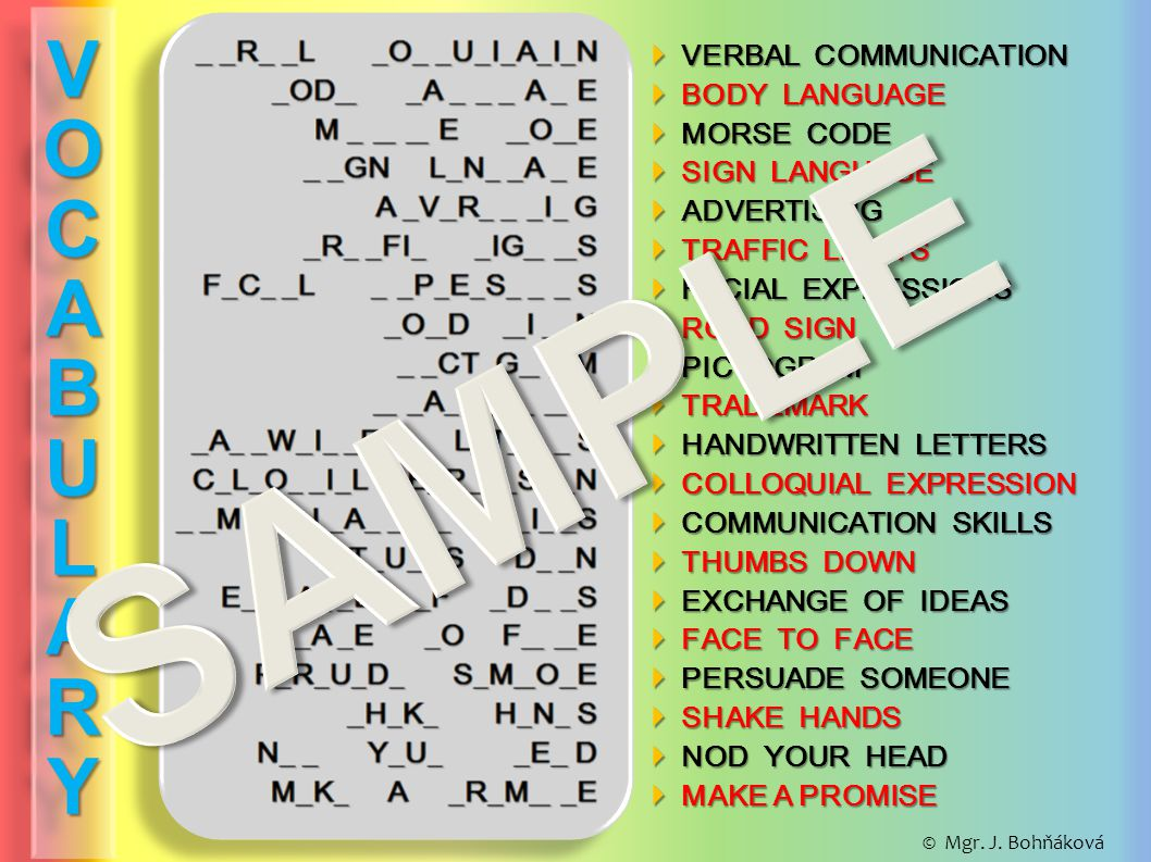  VERBAL COMMUNICATION  BODY LANGUAGE  MORSE CODE  SIGN LANGUAGE  ADVERTISING  TRAFFIC LIGHTS  FACIAL EXPRESSIONS  ROAD SIGN  PICTOGRAM  TRAD
