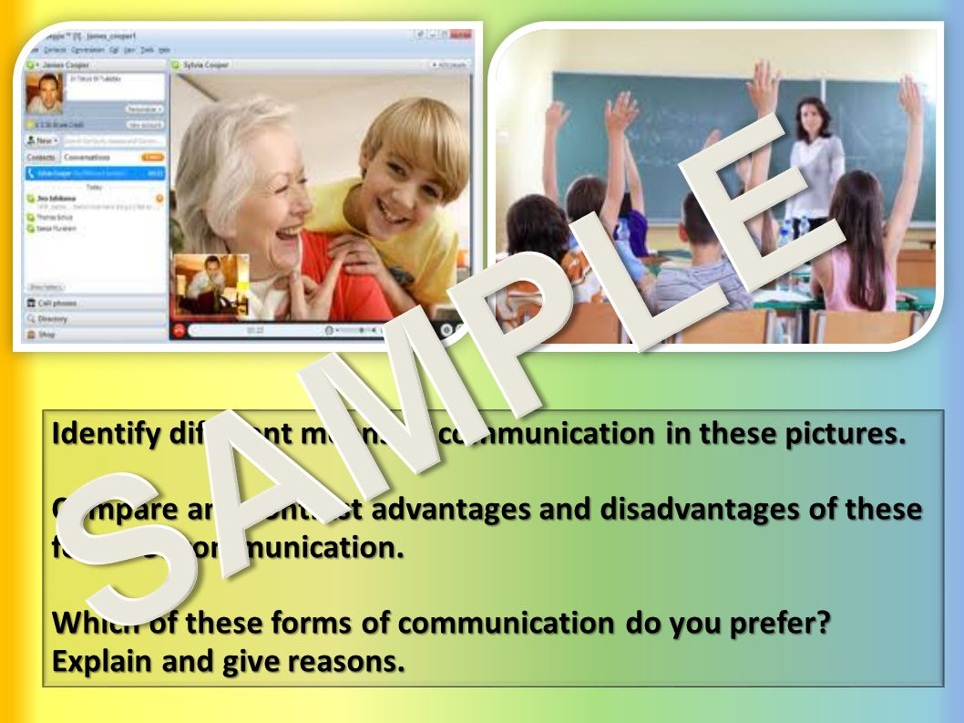 Identify different means of communication in these pictures.