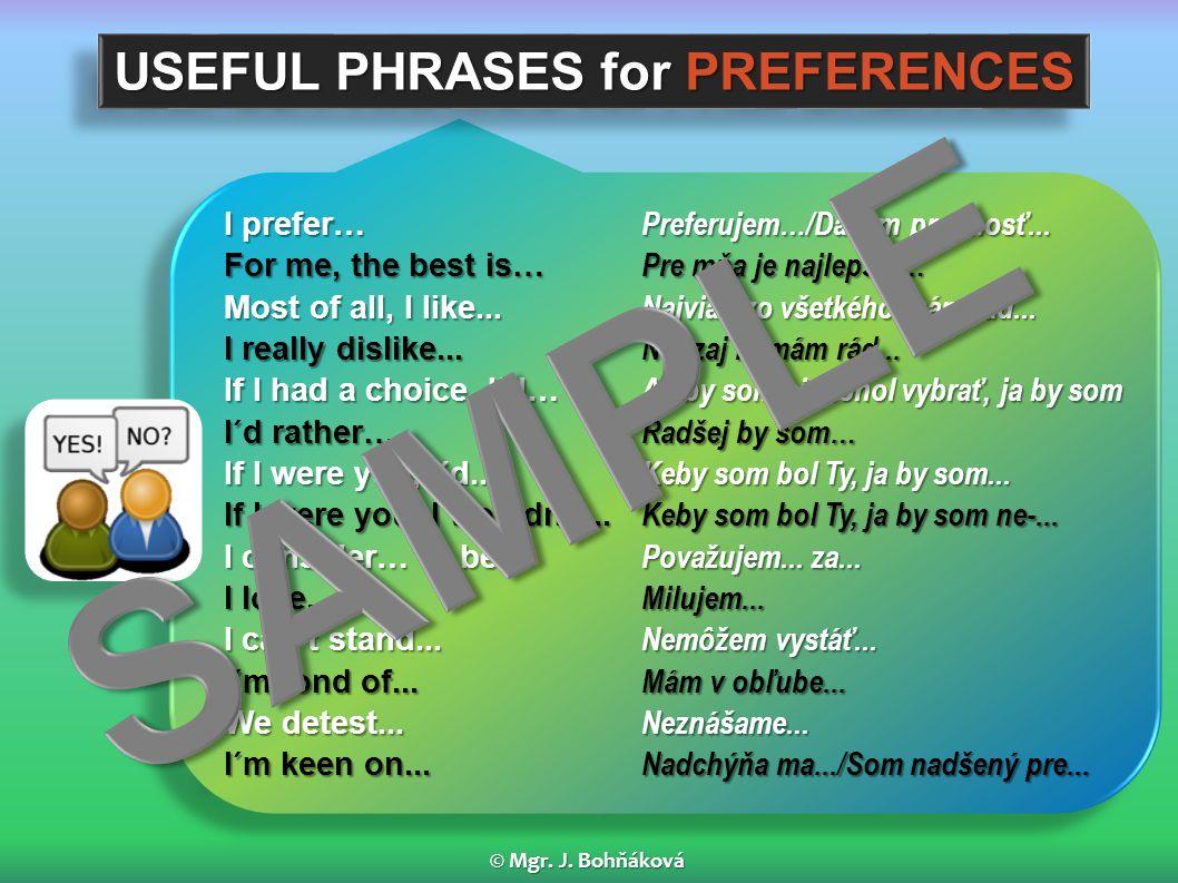 I prefer… Preferujem…/Dávam prednosť...