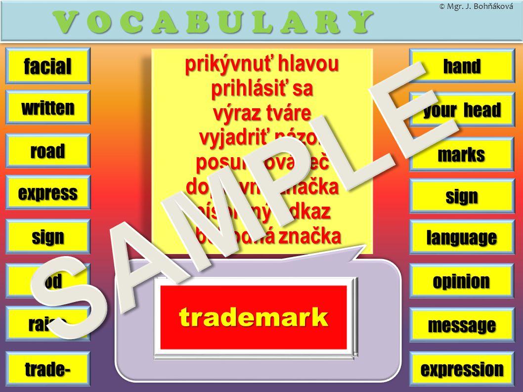 hand V O C A B U L A R Y road marks sign trade- written message opinion express facial sign language your head © Mgr. J. Bohňáková expression prikývnu
